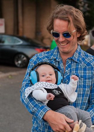 Recent transplant to Montclair Tom and 2-month-old Otis Lockyer enjoyed the concert safely.
