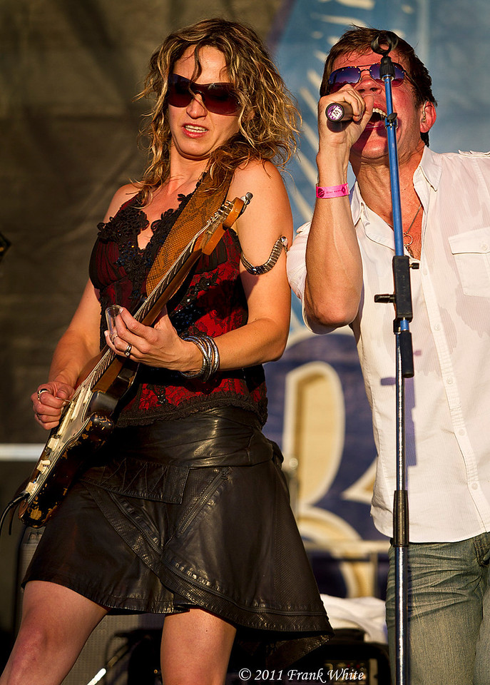 Anna Popovic and Mark Mullins, lead singer from Bonerama. Taken at the 2011 Western Maryland Blue Festival
