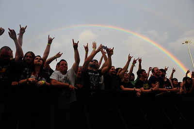 A double rainbow appears as Meshuggan takes the stage at the 1st Annual Chicago Open Air Festival. Friday, July 15th, 2016, at Toyota Park in Bridgeview.   Gary Middendorf-Chicago Tribune Media Group