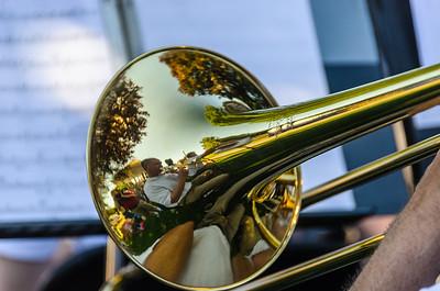 Portrait in a trombone bell