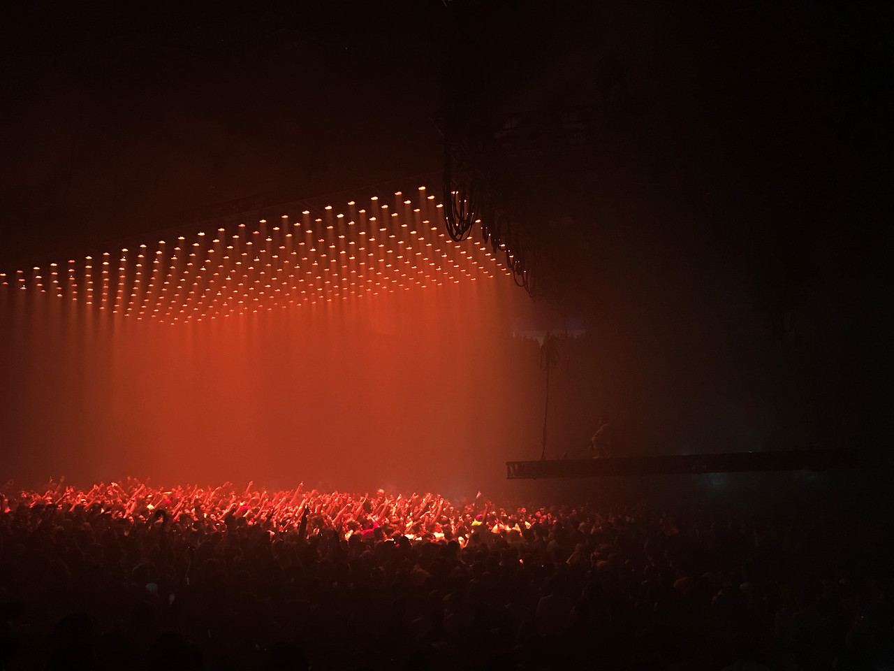 Kanye West overlooks the crowd on his floating stage - Chicago, IL