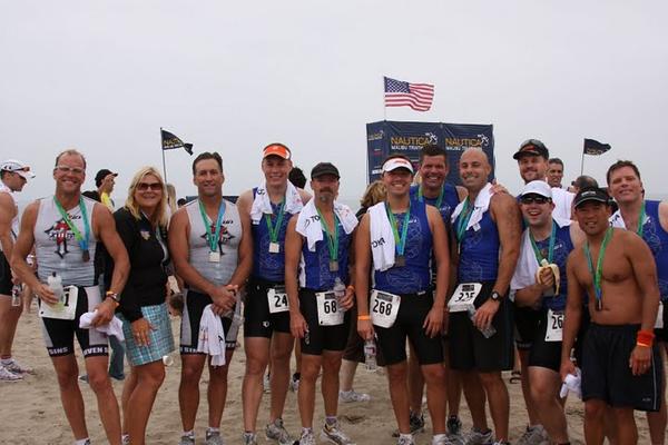 Head Coach Nancy Reno with her Triathlon Men!