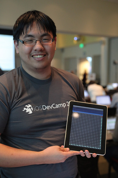 David with an early version of his winning app, Diode.