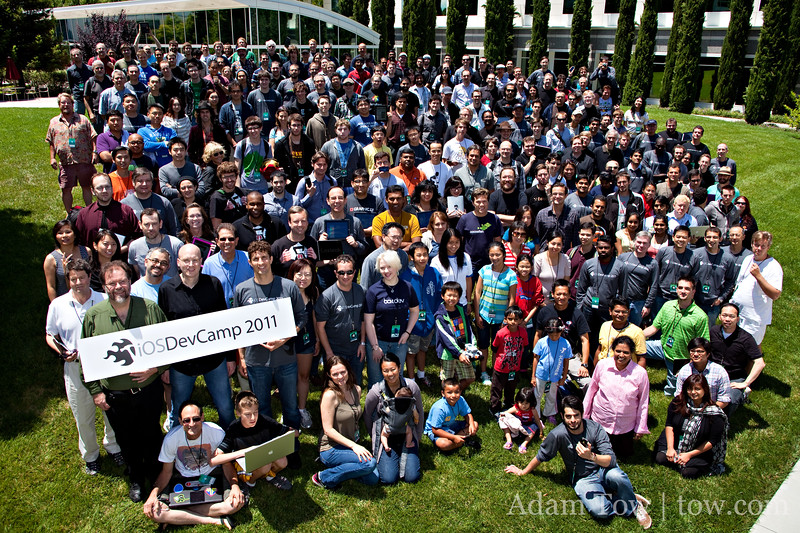 Group photo from the 2011 iOSDevCamp held at eBay/PayPal headquarters in San Jose, California on July 17, 2011.