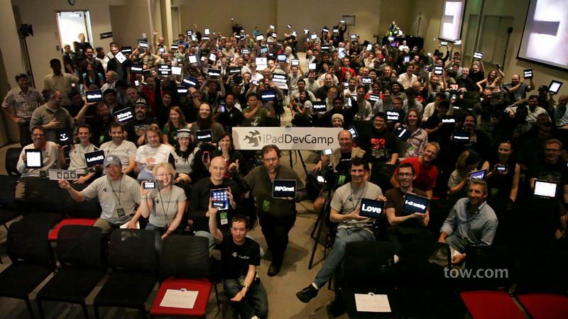 Group cheer at the inaugural iPadDevCamp on April 18, 2010.