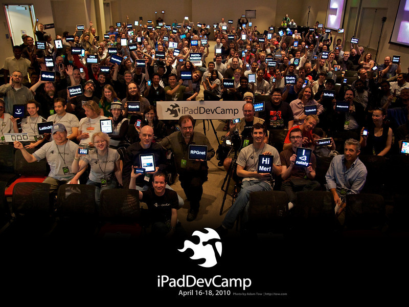 iPad developers and owners cheer during the group photo at the inaugural iPadDevCamp on April 18, 2010.