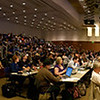 A panorama taken at the third annual WordCamp San Francisco conference held at the Mission Bay Conference Center.