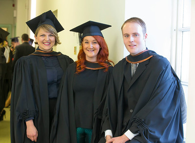 06/01/2015. FREE TO USE IMAGE. WIT (Waterford Institute of Technology) Conferring, Pictured are Inga Jonauskaite, Wexford, Claire Foley, Carrick on Suir and Ian Condon, Waterford who graduated in Bachelor of Arts (Hons) in Visual Arts. Picture: Patrick Browne