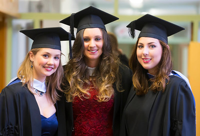 07/01/2015. FREE TO USE IMAGE. WIT (Waterford Institute of Technology) Conferring, Pictured are Eileanóir Daly, Sinead Ryan and Grainne Maher from Waterford who graduated in Bachelor of Science in Food Science with Business. Picture: Patrick Browne