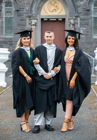 30/10/2019. Waterford Institute of Technology (WIT) Conferring Ceremonies. Pictured are Chloe Lawlor, Tipperary, Aaron O'Regan, Waterford City and Shannon Kearns Our Lady's Island Wexford who graduated Bachelor of Science in Retail Management. Picture: Patrick Browne