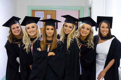 30/10/2019. Waterford Institute of Technology (WIT) Conferring Ceremonies. Pictured are Charlotte Drew Carlow, Aoife Power Waterford City, Kerri Mc Enery Waterford City, Lisa Murphy Curracloe, Co. Wexford, Chloe Murphy Waterford City and Alison Jones Macaroom who graduated Bachelor of Arts Hons in in International Business. Picture: Patrick Browne