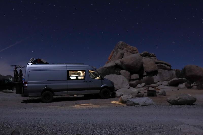Night Photo of Sprinter Van at Joshua Tree at Ryan's Camp