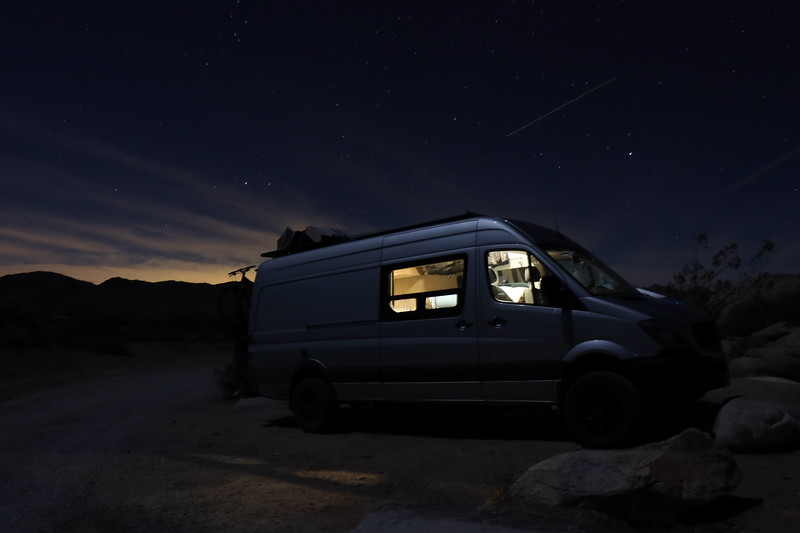 Night Photo of Sprinter Van at Joshua Tree