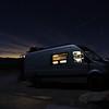 Night Photo of Sprinter Van at Joshua Tree