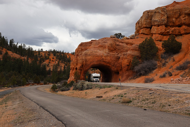 Highway Tunnel Through Red Rock Sandstone Near Bryce Canyon