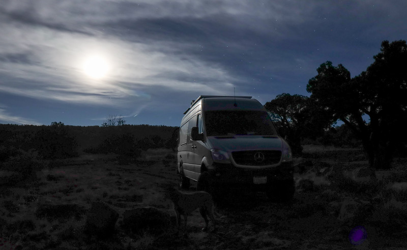 Moonlight and Sprinter Van at Schnebly Hill Road Vista near Sedona Arizona