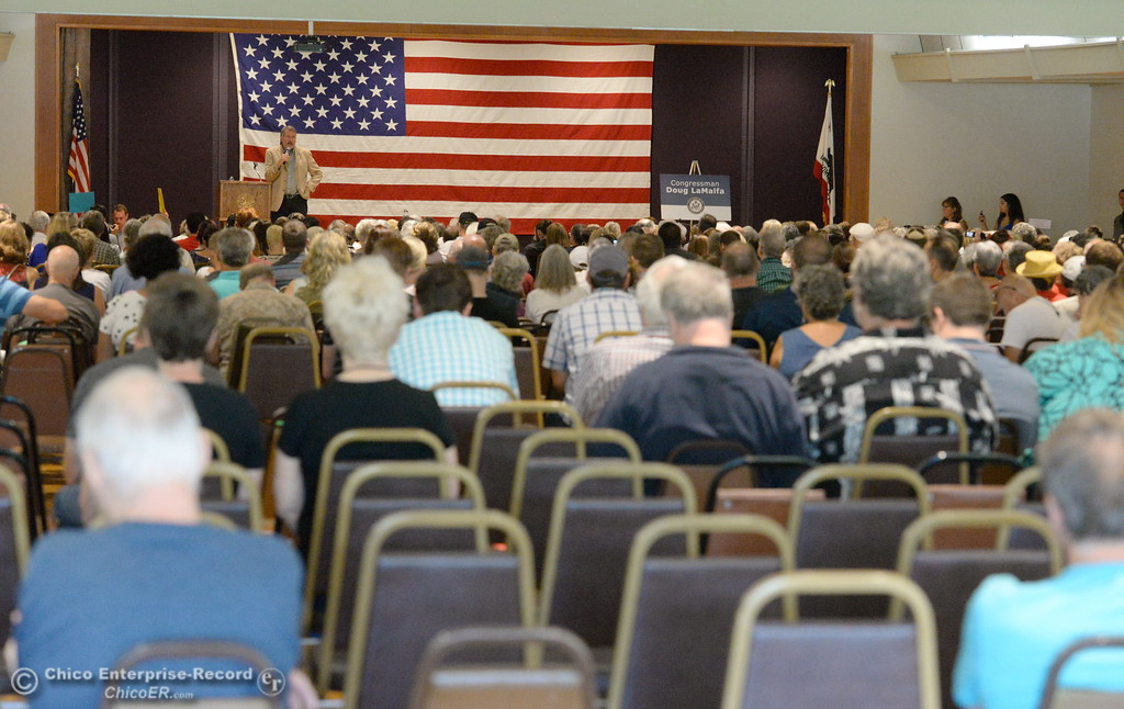 . A few empty seats are seen during the back of the room near the end of a town hall meeting held by Congressman Doug LaMalfa at the Elks Lodge in Chico, Calif. Monday Aug. 7, 2017.  (Bill Husa -- Enterprise-Record)