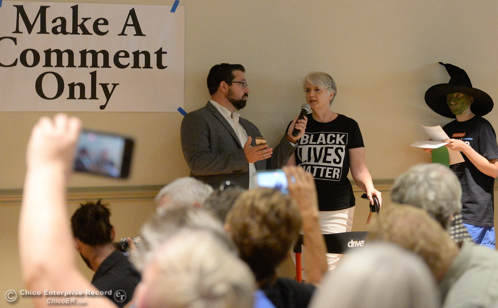 . Kimberlee Candela of Chico makes a comment during a Town Hall meeting held by Congressman Doug LaMalfa at the Elks Lodge in Chico, Calif. Monday Aug. 7, 2017.  (Bill Husa -- Enterprise-Record)