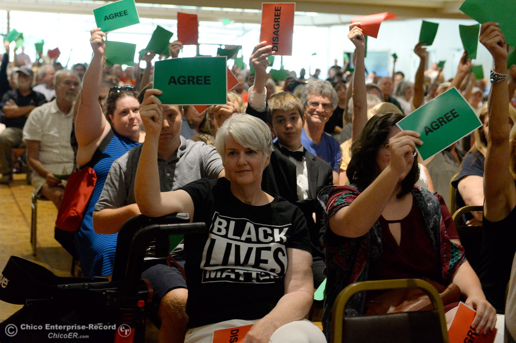 . People hold up signs during a town hall meeting held by Congressman Doug LaMalfa at the Elks Lodge in Chico, Calif. Monday Aug. 7, 2017.  (Bill Husa -- Enterprise-Record)