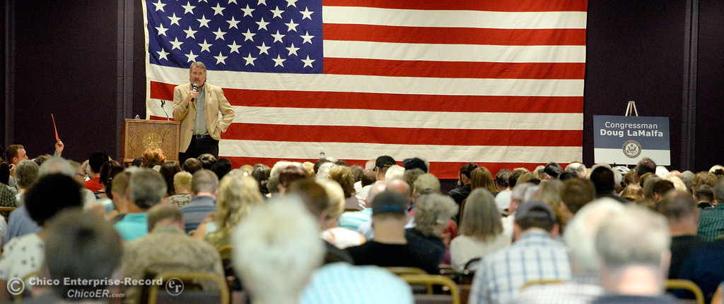. Congressman Doug LaMalfa listens to comments and answers questions during a Town Hall meeting held by Congressman Doug LaMalfa at the Elks Lodge in Chico, Calif. Monday Aug. 7, 2017.  (Bill Husa -- Enterprise-Record)