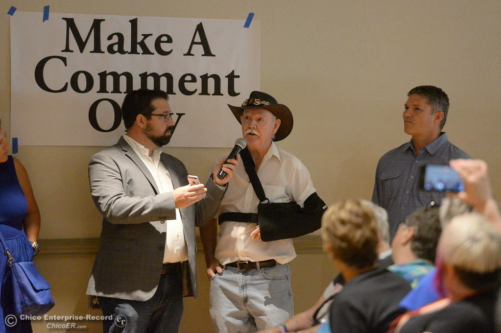 . A man makes a comment during a town hall meeting held by Congressman Doug LaMalfa at the Elks Lodge in Chico, Calif. Monday Aug. 7, 2017.  (Bill Husa -- Enterprise-Record)