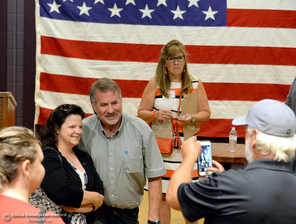 . Congressman Doug LaMalfa smiles for a photo with a woman following a town hall meeting held at the Elks Lodge in Chico, Calif. Monday morning Aug. 7, 2017.  (Bill Husa -- Enterprise-Record)