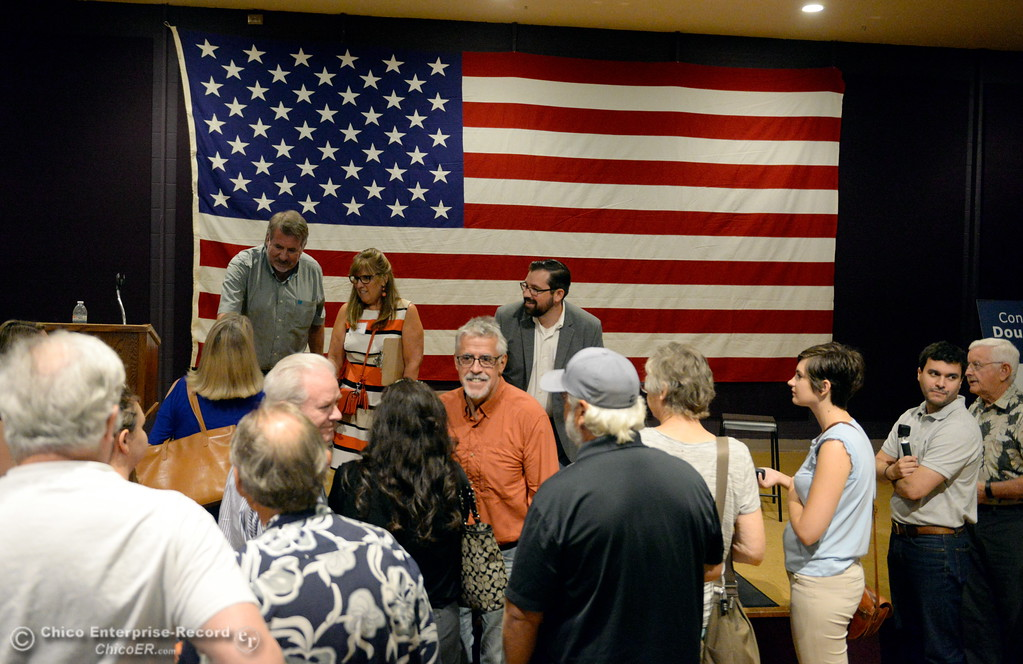 . People try to talk to LaMalfa following a town hall meeting held by Congressman Doug LaMalfa at the Elks Lodge in Chico, Calif. Monday Aug. 7, 2017.  (Bill Husa -- Enterprise-Record)