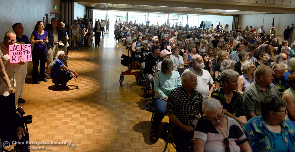 . A nearly full house is present for the early morning town hall meeting held by Congressman Doug LaMalfa at the Elks Lodge in Chico, Calif. Monday Aug. 7, 2017.  (Bill Husa -- Enterprise-Record)