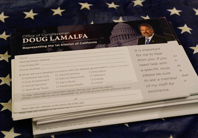 Congressman Doug LaMalfa hosts a town hall meeting Monday April 17, 2017 at the State Theatre  in Oroville, California. (Emily Bertolino -- Mercury Register)
