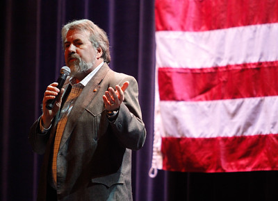 Congressman Doug LaMalfa hosts a town hall meeting Monday April 17, 2017 at the State Theatre  in Oroville, California. (Emily Bertolino -- Mercury Register)