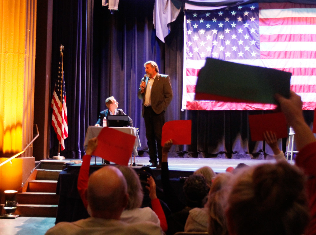 . Congressman Doug LaMalfa hosts a town hall meeting Monday April 17, 2017 at the State Theatre  in Oroville, California. (Emily Bertolino -- Mercury Register)