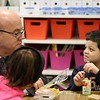 "Congressman Jim McGovern visited Frances Drake Elementary School in Leominster on Friday morning to get a look at how they  serve breakfast to the students because it is ""National School Breakfast Week."" McGovern chats with first grade student Dereck Ortis-Torres, about his breakfasts during his visit. SENTINEL & ENTERPRISE/JOHN LOVE"