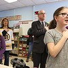 "Congressman Jim McGovern visited Frances Drake Elementary School in Leominster on Friday morning to get a look at how they  serve breakfast to the students because it is ""National School Breakfast Week."" McGovern does the pledge of allegiance with the students in Julie Davis's fourth grade class about their lunches during his visit. From left is Vice Principal Wendy Hess with students Giana Colon and Madelyn Wilson doing the pledge with him. SENTINEL & ENTERPRISE/JOHN LOVE"