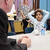 "Congressman Jim McGovern visited Frances Drake Elementary School in Leominster on Friday morning to get a look at how they  serve breakfast to the students because it is ""National School Breakfast Week."" First grade students Nevaeh Kamataris and Melanie Sosa chat with McGovern about their breakfast during his visit. SENTINEL & ENTERPRISE/JOHN LOVE"