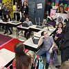 "Congressman Jim McGovern visited Frances Drake Elementary School in Leominster on Friday morning to get a look at how they  serve breakfast to the students because it is ""National School Breakfast Week."" McGovern chats with fourth graders in Julie Davis's class about their lunches during his visit. SENTINEL & ENTERPRISE/JOHN LOVE"