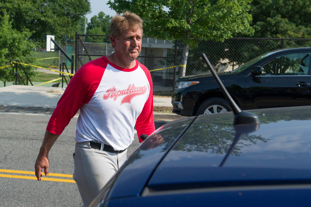 . Sen. Jeff Flake, R-Az. leaves the scene of a multiple shooting in Alexandria, Va., Wednesday, June 14, 2017, where House Majority Whip Steve Scalise of La. was shot during a Congressional baseball practice.  (AP Photo/Cliff Owen)