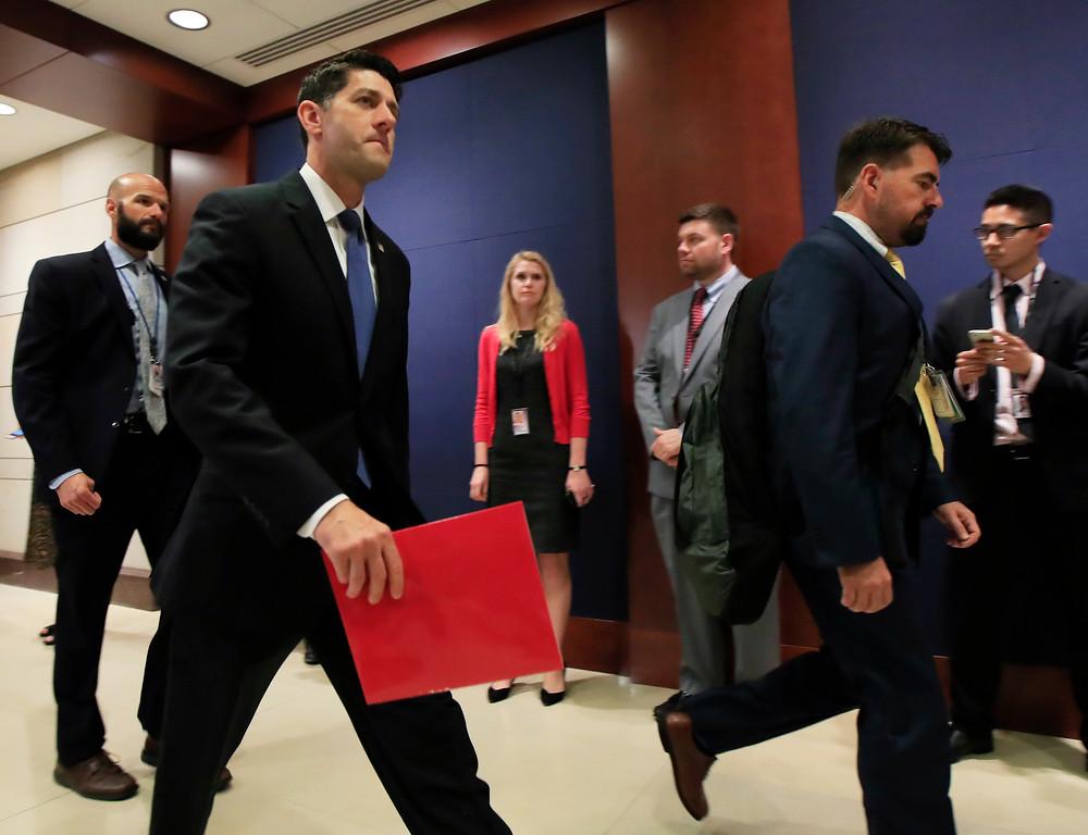 . House Speaker Paul Ryan of Wis. walks towards the House floor on Capitol Hill in Washington, Wednesday, June 14, 2017. (AP Photo/Manuel Balce Ceneta)