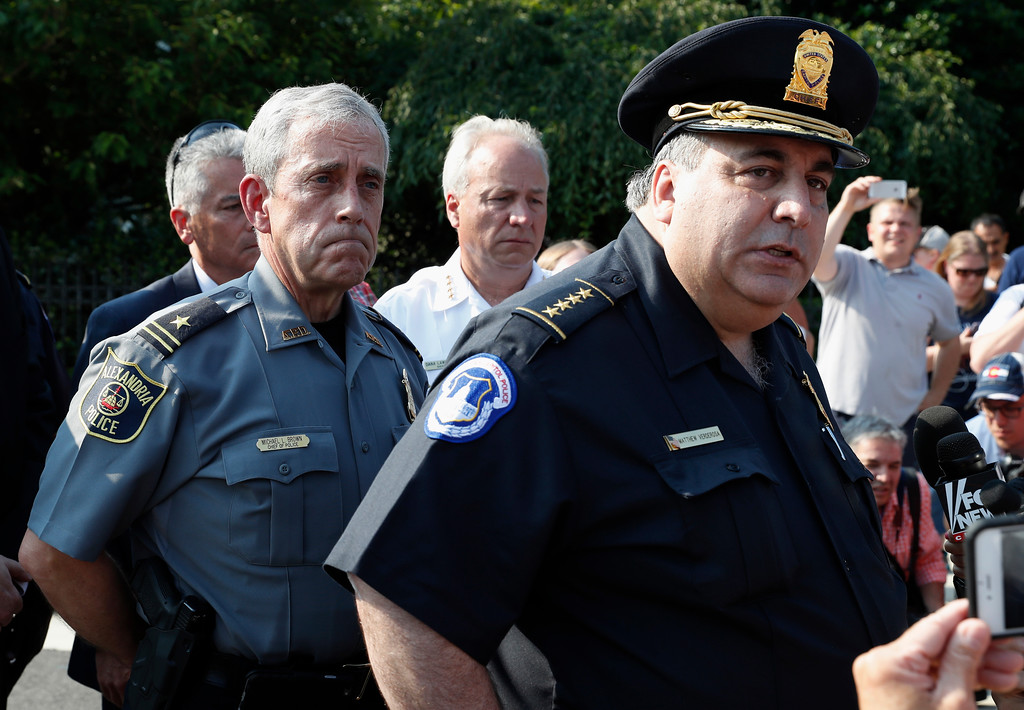 . Capitol Hill Police Chief Matthew Verderosa, right, with Alexandria, Va. Police Chief Michael Brown, left, meet with the media in Alexandria, Va., Wednesday, June 14, 2017, to discuss the shooting of House Majority Whip Steve Scalise of La. at a Congressional baseball practice. (AP Photo/Alex Brandon)