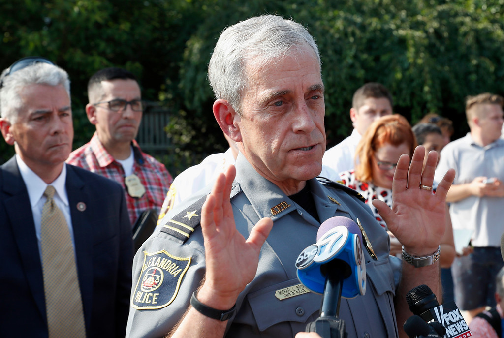 . Alexandria, Va. Police Chief Michael Brown speaks about the shooting in Alexandria, Va.,  Wednesday, June 14, 2017, where House Majority Whip Steve Scalise of La. was shot at a Congressional baseball practice. (AP Photo/Alex Brandon)