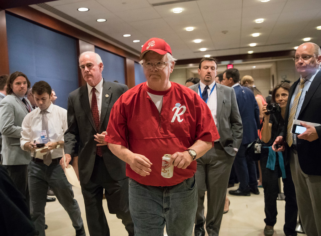 . Rep. Joe Barton, R-Texas, with Rep. Pat Meehan, R-Pa., left, arrives on Capitol Hill in Washington, Wednesday, June 14, 2017, for a security briefing after a gunman opened fire at a congressional baseball practice wounding House Majority Whip Steve Scalise of La., and others, in Alexandria, Va. (AP Photo/J. Scott Applewhite)