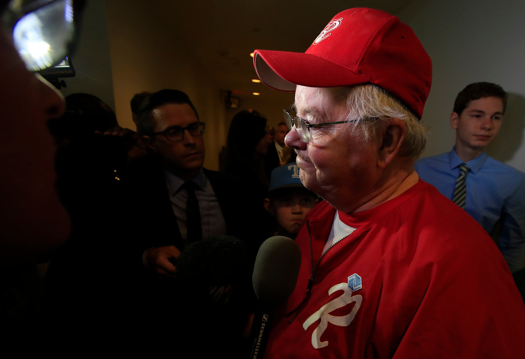 . Rep. Joe Barton, R-Texas, manager of the Republican team, wearing his baseball uniform, speaks to reporters on Capitol Hill in Washington, Wednesday, June 14, 2017, about the incident where House Majority Whip Steve Scalise of La., and others, were shot during a Congressional baseball practice in Alexandria, Va. (AP Photo/Manuel Balce Ceneta)