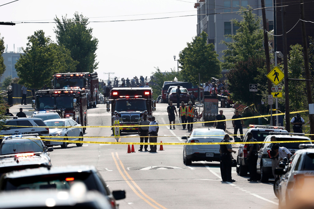 . Alexandria, Va. Police and other first responders block East Monroe Ave. in Alexandria, Va., Wednesday, June 14, 2017, after a shooting involving House Majority Whip Steve Scalise of La, at a congressional baseball practice. (AP Photo/Alex Brandon)