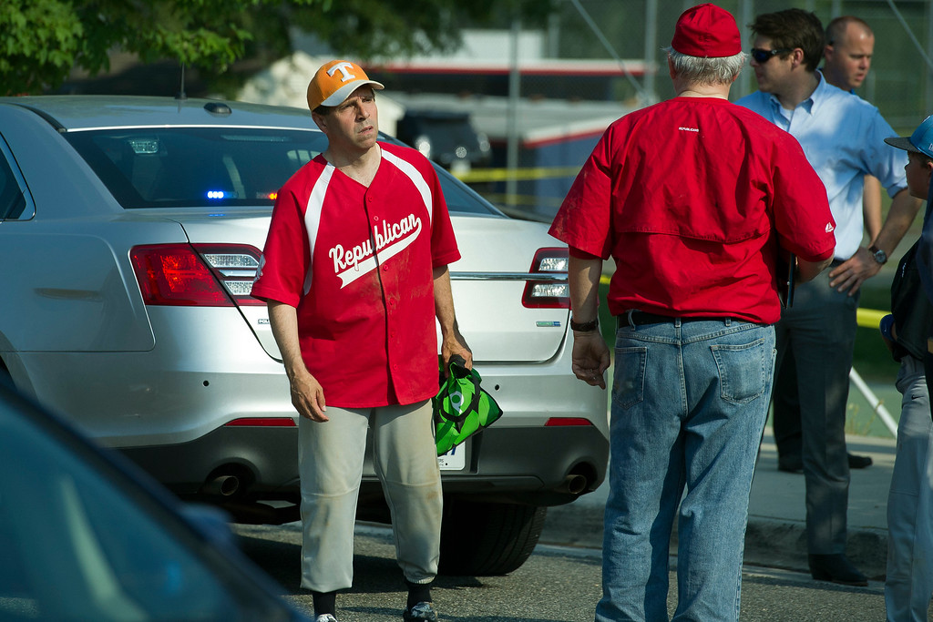 . Rep. Chuck Fleischmann, R-Tenn. is seen near the scene of a shooting in Alexandria, Va., Wednesday, June 14, 2017, where House Majority Whip Steve Scalise of La. was shot during a Congressional baseball practice.  (AP Photo/Cliff Owen)