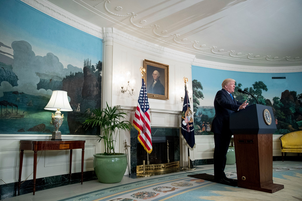 . President Donald Trump speaks in the Diplomatic Room of the White House in Washington, Wednesday, June 14, 2017, about the shooting in Alexandria, Va. where House Majority Whip Steve Scalise of La., and others, where shot during a Congressional baseball practice. (AP Photo/Andrew Harnik)