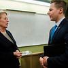 Cam Rocheford speaks with Congresswoman Niki Tsongas following a discussion with the Political Discussion Club at Oakmont Regional High School on Wednesday, May 10, 2017. SENTINEL & ENTERPRISE / Ashley Green