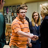 Oakmont Regional High School student Evan Weinerb greets Congresswoman Niki Tsongas as she arrives at the school to talk to the Political Discussion Club on Wednesday, May 10, 2017. SENTINEL & ENTERPRISE / Ashley Green