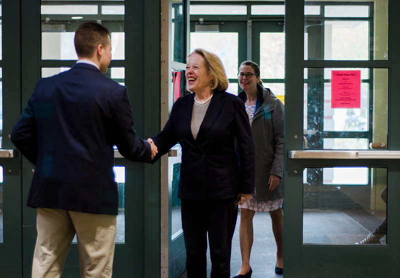Oakmont Regional High School student Cam Rocheford greets Congresswoman Niki Tsongas as she arrives at the school to talk to the Political Discussion Club on Wednesday, May 10, 2017. SENTINEL & ENTERPRISE / Ashley Green