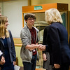 Oakmont Regional High School student Ryan Weston greets Congresswoman Niki Tsongas as she arrives at the school to talk to the Political Discussion Club on Wednesday, May 10, 2017. SENTINEL & ENTERPRISE / Ashley Green