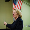 Congresswoman Niki Tsongas leads a discussion with the Political Discussion Club at Oakmont Regional High School on Wednesday, May 10, 2017. SENTINEL & ENTERPRISE / Ashley Green