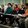 Students from the Politcal Discussion Club at Oakmont Regional High School listen in while Congresswoman Niki Tsongas leads a discussion on Wednesday, May 10, 2017. SENTINEL & ENTERPRISE / Ashley Green